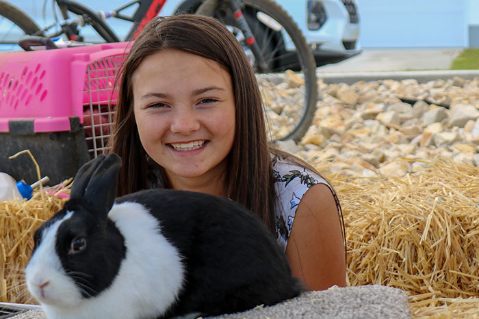 Girl and a bunny